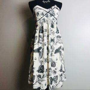 Loft cream spaghetti strap butterfly print dress